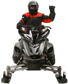 Snowmobiler hand signal for last sled in line